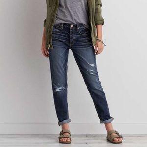 New✨AE Tomgirl Distressed Raw Hem Dark Denim Jeans